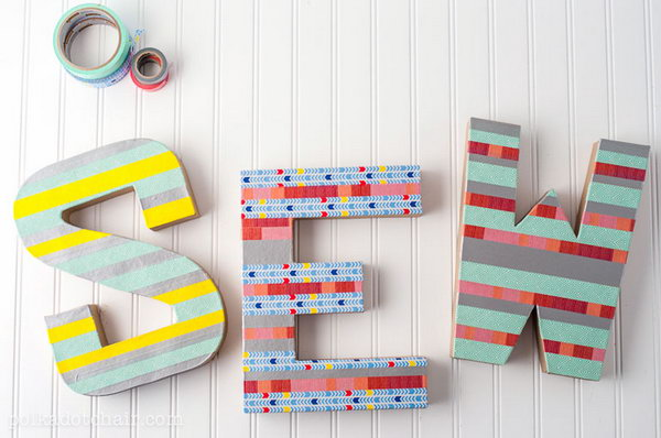 16 Colorful Washi Tape Letters