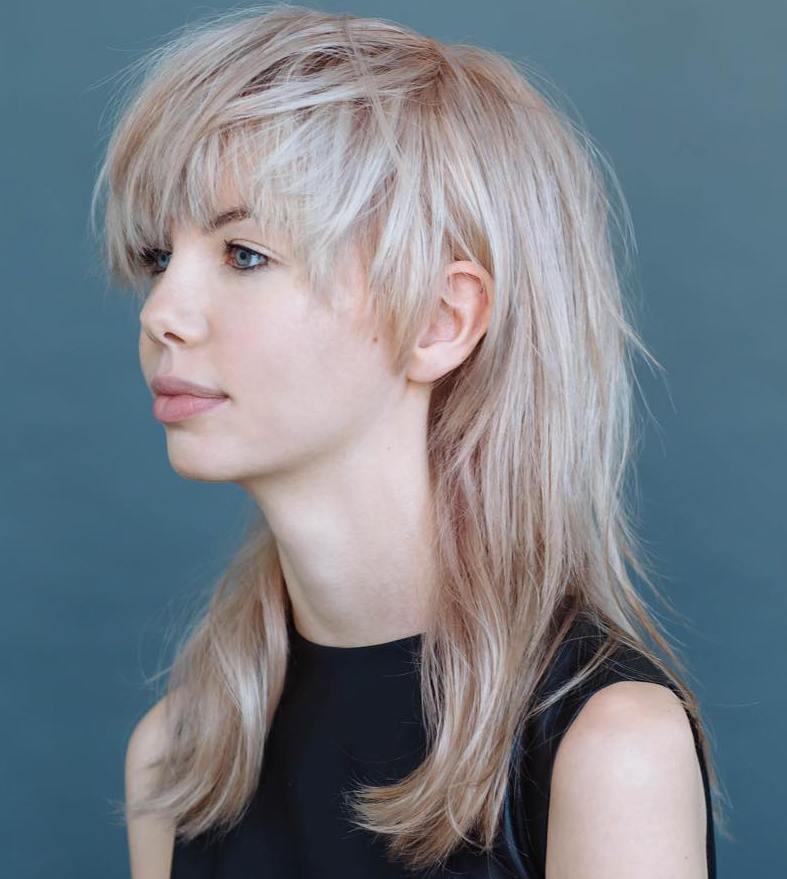 16 medium blonde shag with bangs