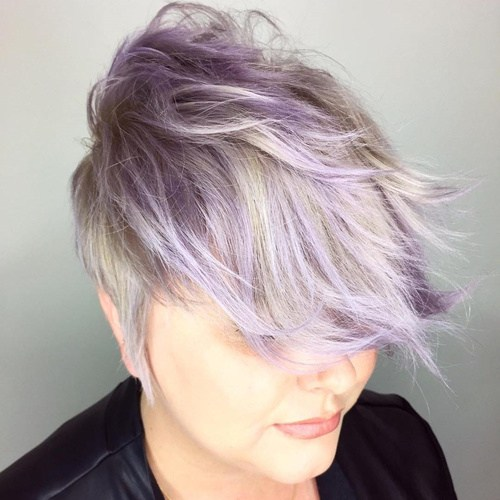 17 long blonde and purple pixie