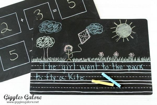 18 DIY Chalkboard Placemats That Make Learning Fun