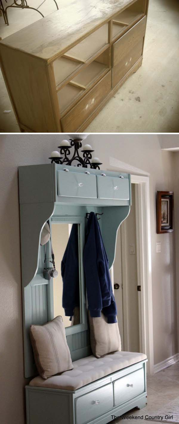 18 Turn an Old Dresser to a Beautiful Mudroom Bench