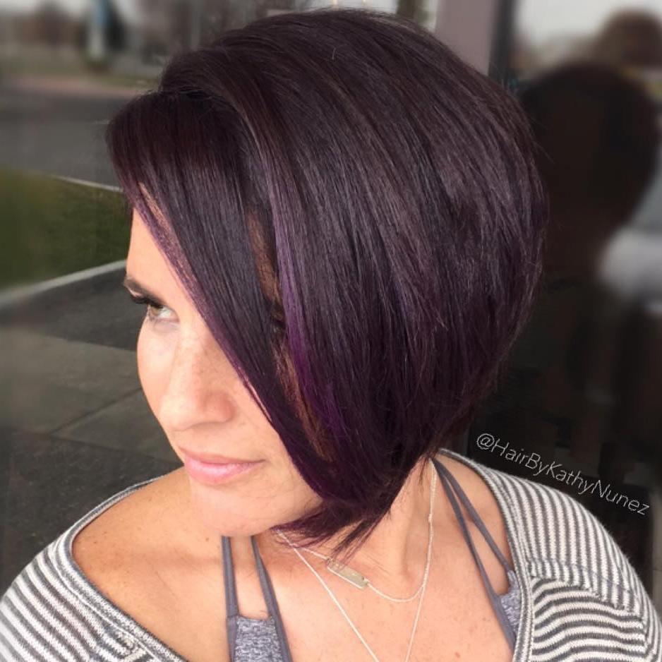 18 sideswept purple brown bob