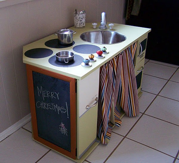 19 DIY Play Kitchen Built from a Desk