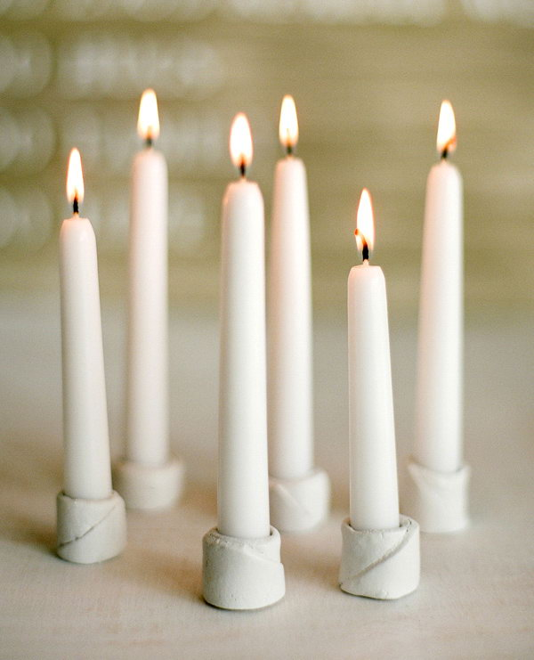 19 Small Clay Candle Holders