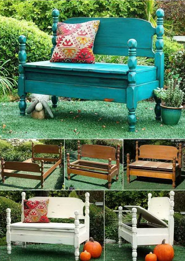 19 Turn Old Beds into Wonderful Benches