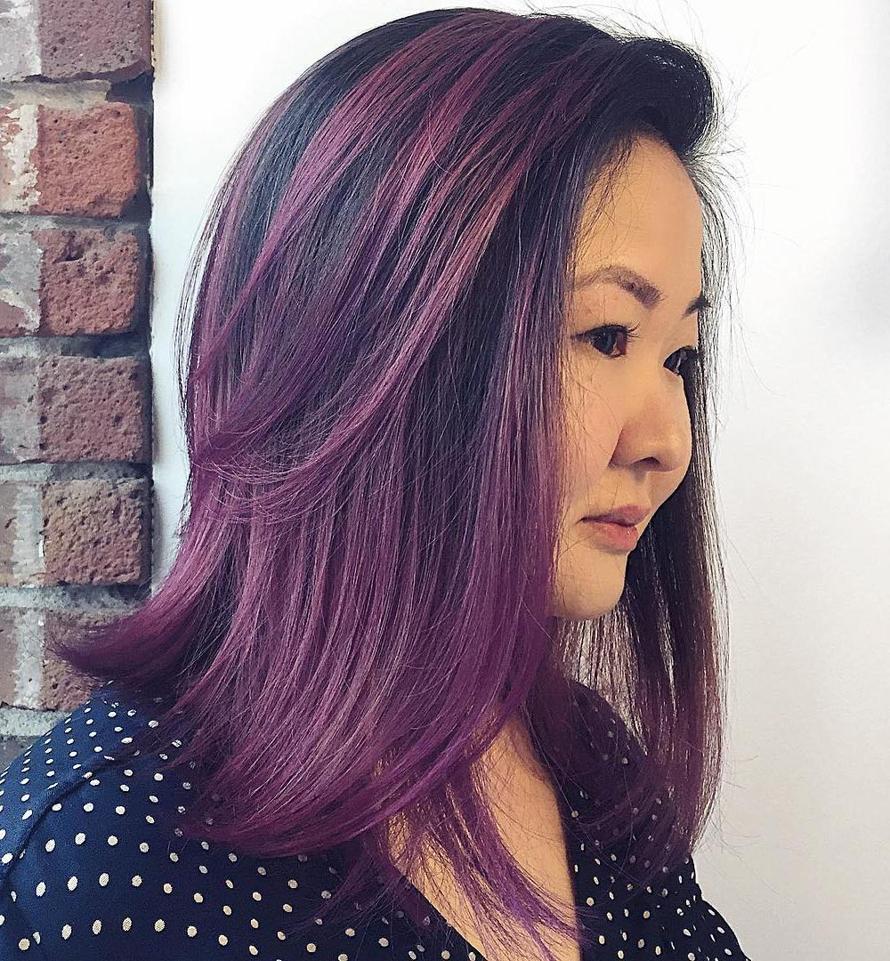 19 black hair with purple balayage