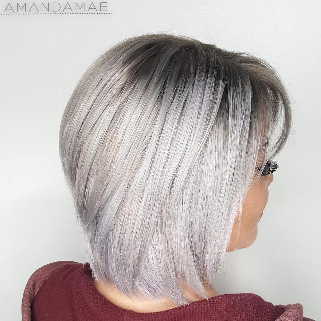 19 silver bob with black roots