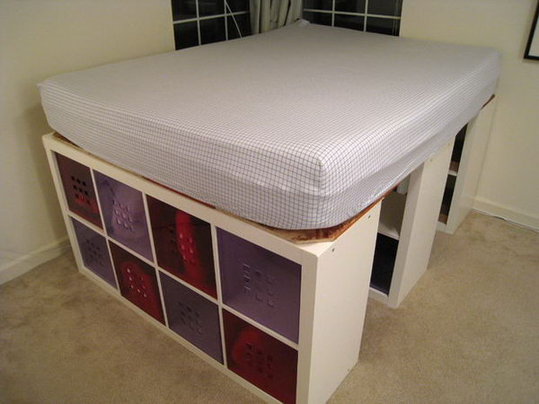 2 Bed with Expedit Bookshelves for Storage