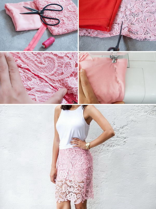 2 DIY Lace Pencil Skirt