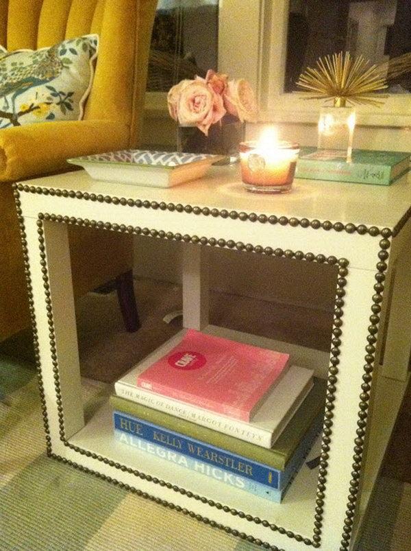 2 DIY Nailhead Trim Side Table