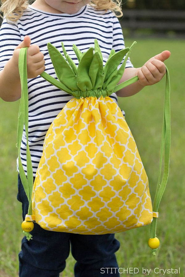 2 DIY Pineapple Drawstring Backpack