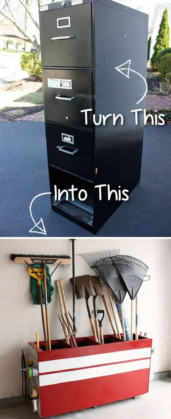 2 Turn an Old File Cabinet into a Garage Storage