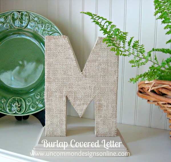 20 Burlap covered letter