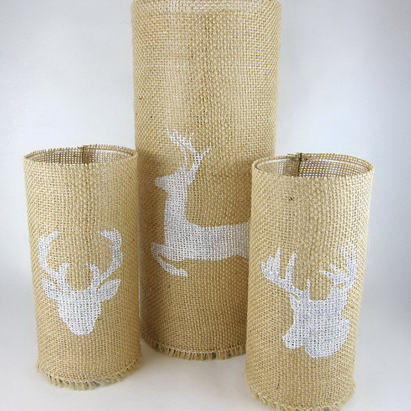 20 Stenciled Burlap Candle Holders