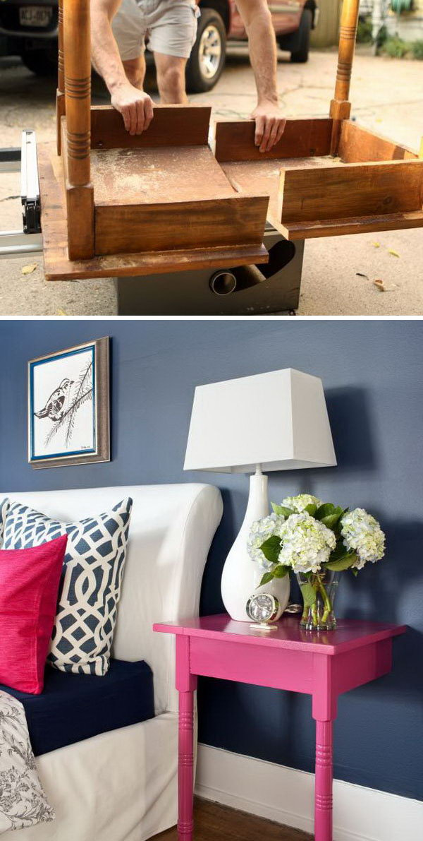 20 Turn an Unused Table into a Pair of Stylish and Useful Nightstands