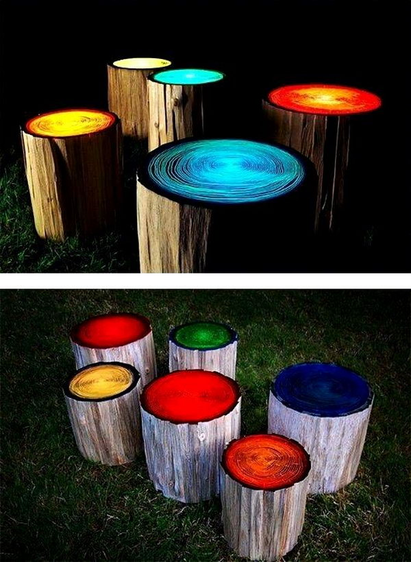 21 DIY Log Stools Painted with Glow