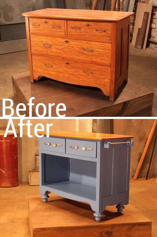 21 Turn an Old Dresser into Useful Kitchen Island