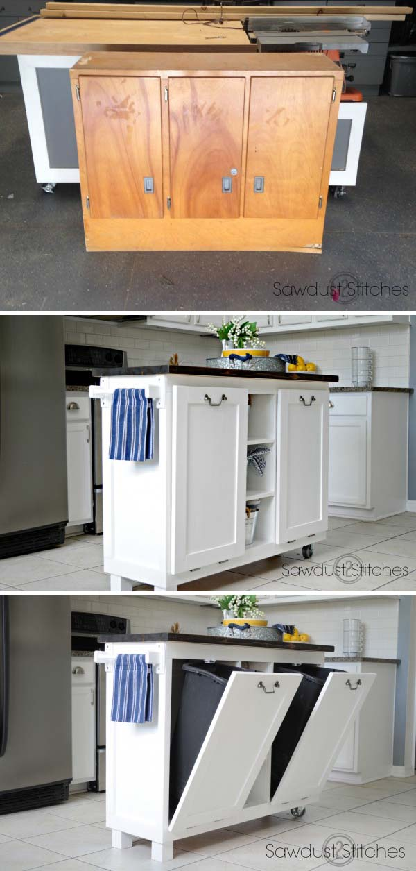22 Turn an Old Cabinet to Useful Kitchen Island