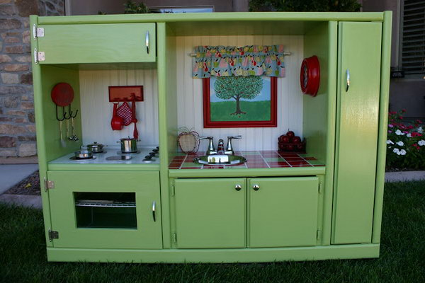 23 A Home Entertainment Unit Turned Play Kitchen