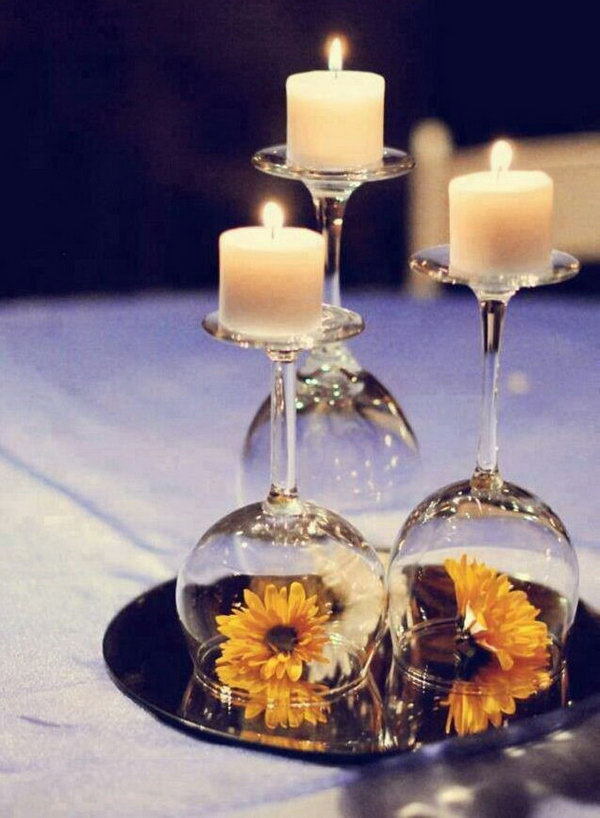 23 Wine Glasses Used as Candle Holders