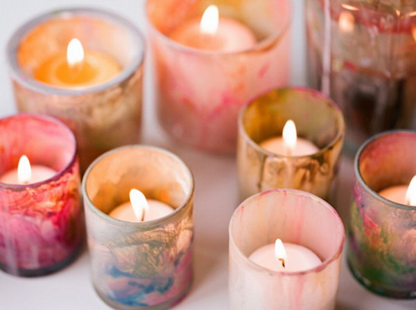 24 Marble Painted Votives