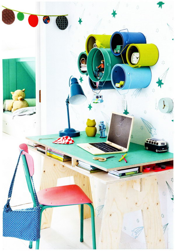 25 Paint Can Kids Desk Storage