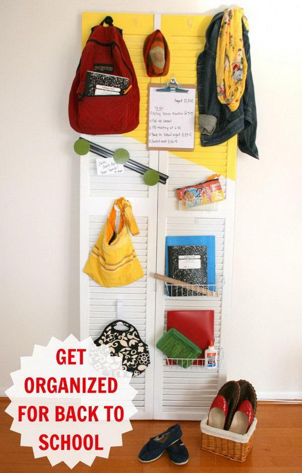 28 DIY Back to School Shutter Door Organizer