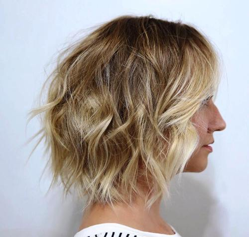 29 tousled bob with blonde balayage