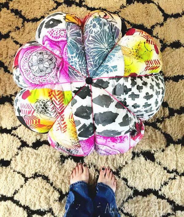 3 Colorful DIY Scrap Fabric Floor Pouf