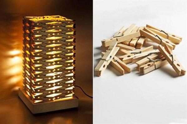 3 DIY Clothespin Lampshade