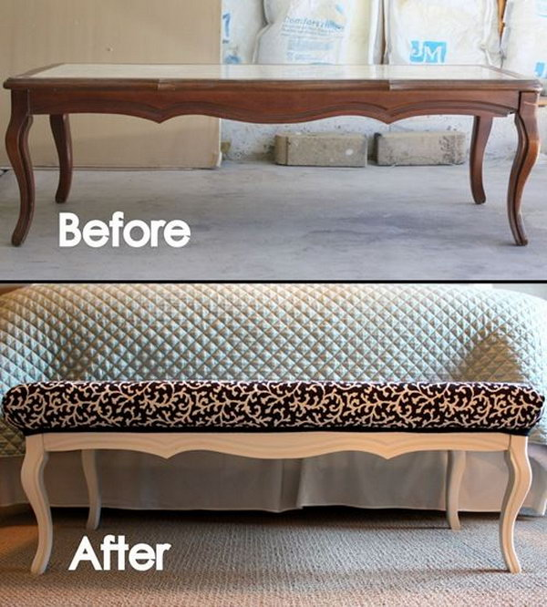 3 DIY Stylish Ottoman from an Old Coffee Table