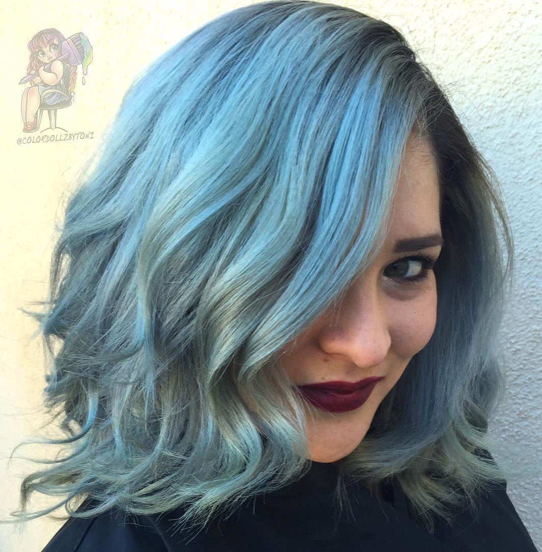 3 pastel blue shaggy wavy bob