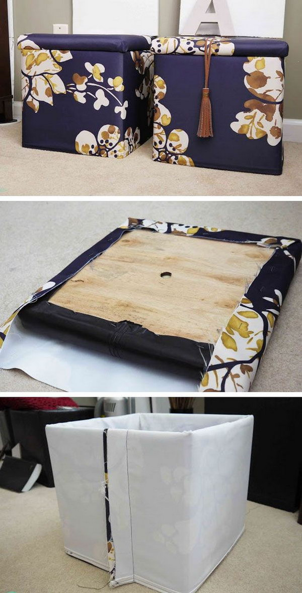31 DIY Fabric Ottoman Combined with Storage