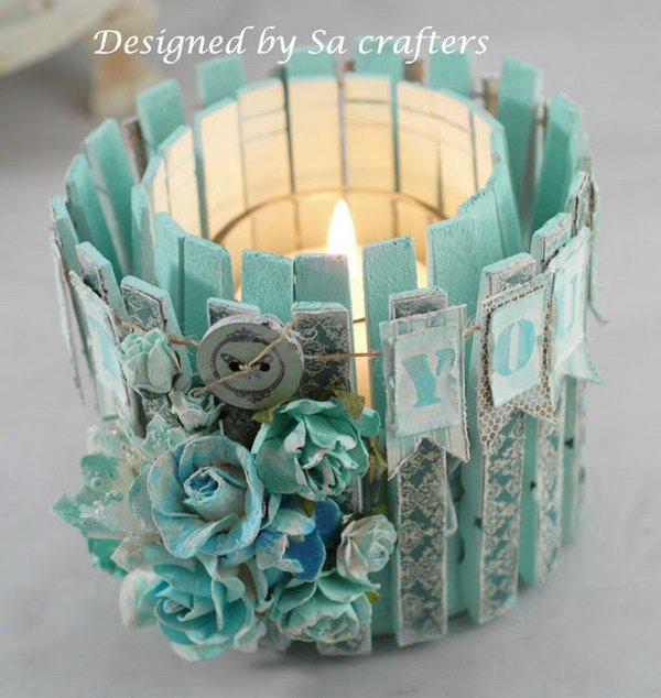 31 Tin Can and Clothpins Candle Holder