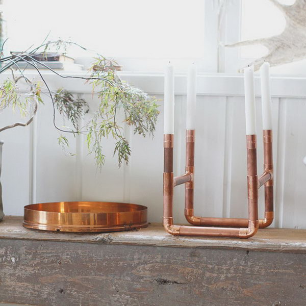 33 Copper Pipe Candle Holder