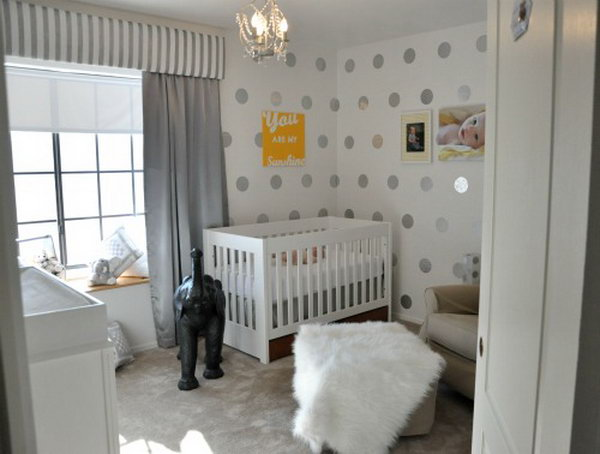 35 Easy DIY Polka Dot Nursery Accent Wall Done with Contact Paper