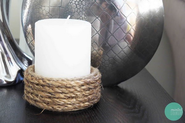 35 Rope Wrapped Candle Holder