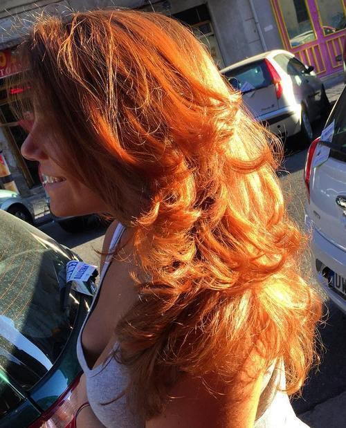 36 long layered red haircut