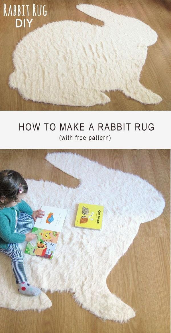 37 Easy and  Cute No Sew Rabbit Rug DIY