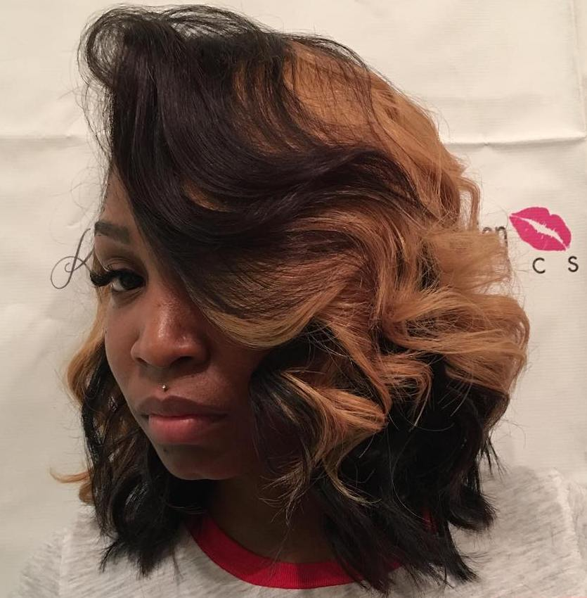 4 African American curly side part bob