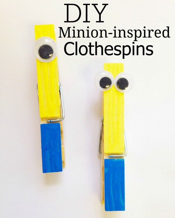 32 cute minion crafts your kids will love page 4 for Minion clothespins