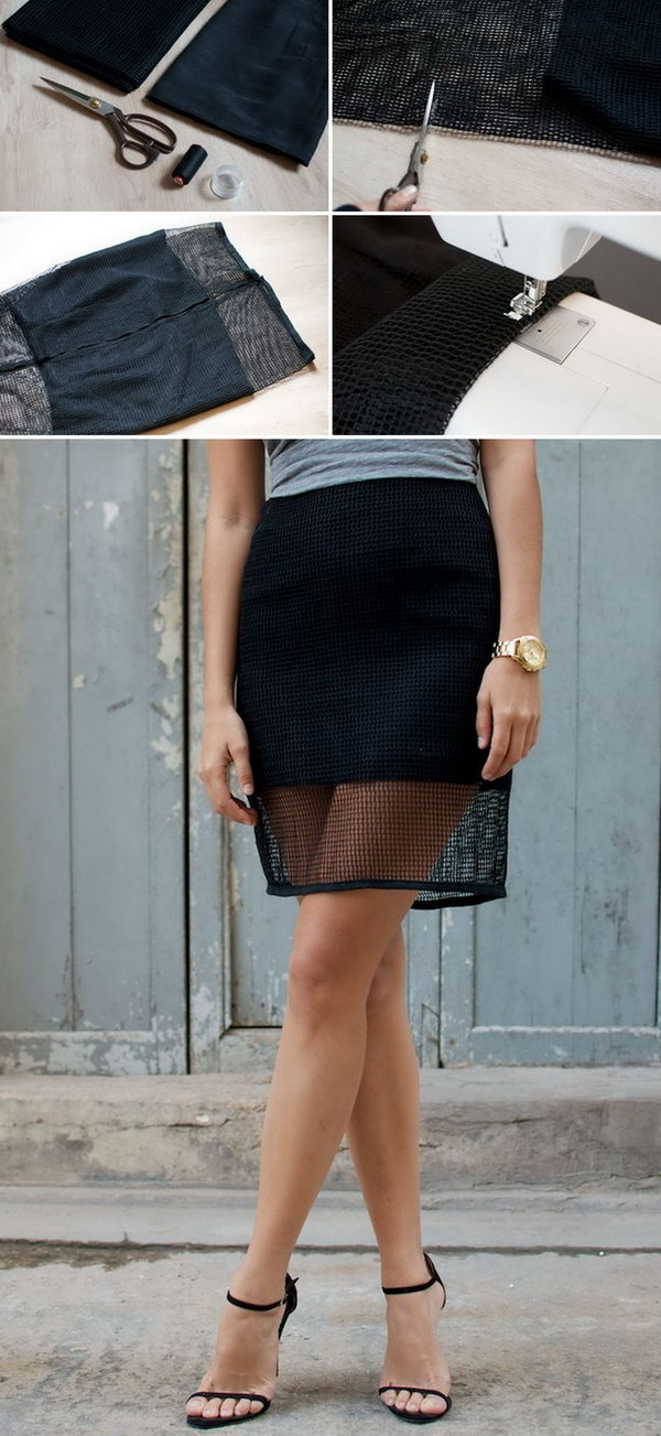 4 DIY Mesh Pencil Skirt