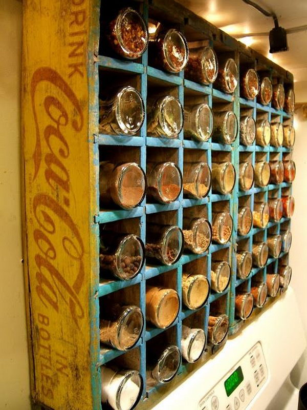 4 Turn a Vintage Coca-Cola Bottle Crate into a Spice Rack