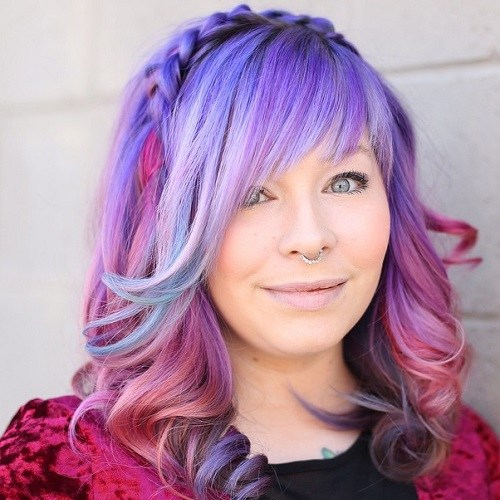 4 pastel purple balayage hair with layered bangs