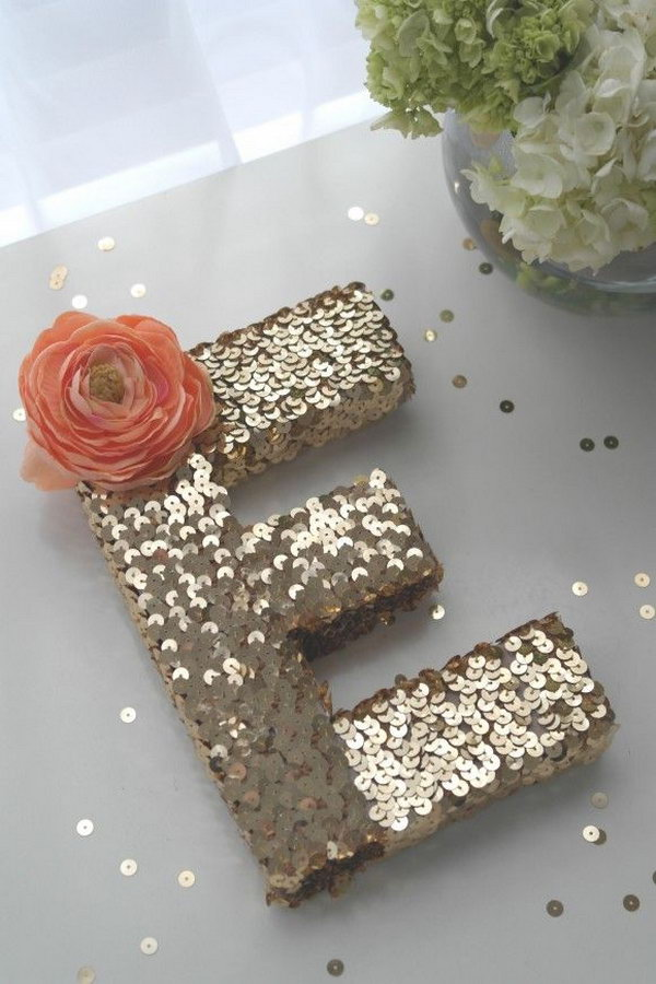 5 Easy to Do Sequin Monogram Letter