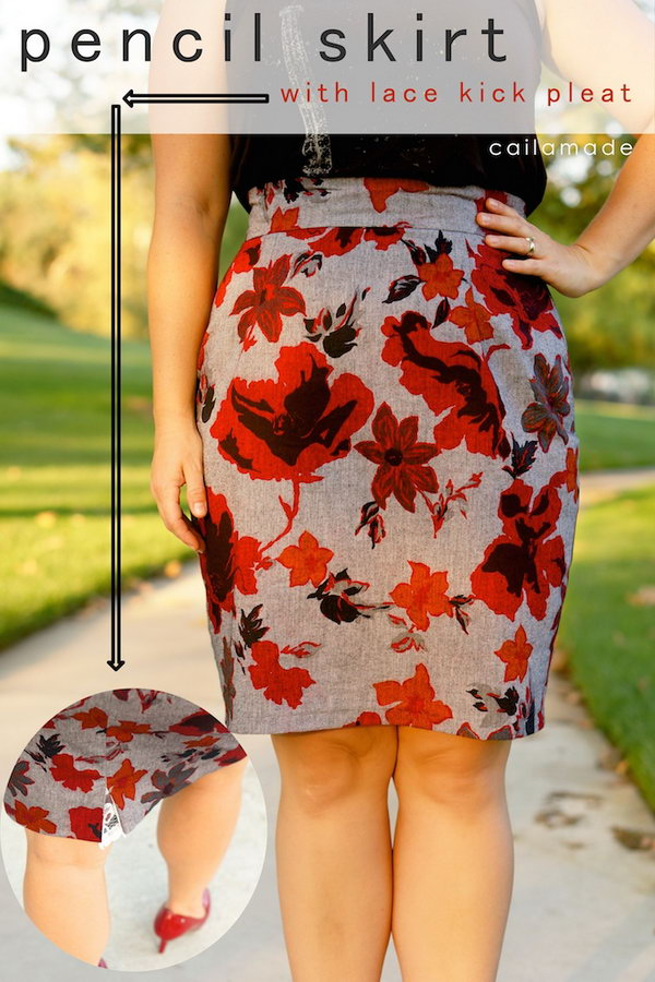 5 Flower Patterned Pencil Skirt