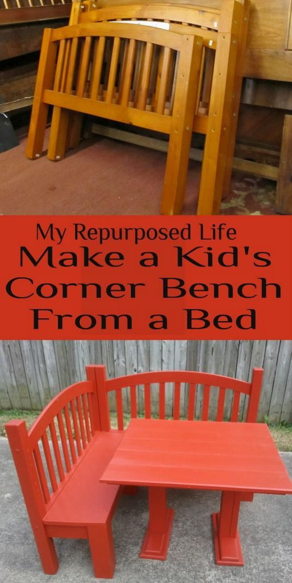 5 Make a Kid's Corner Bench and Play Table from an Old Bed