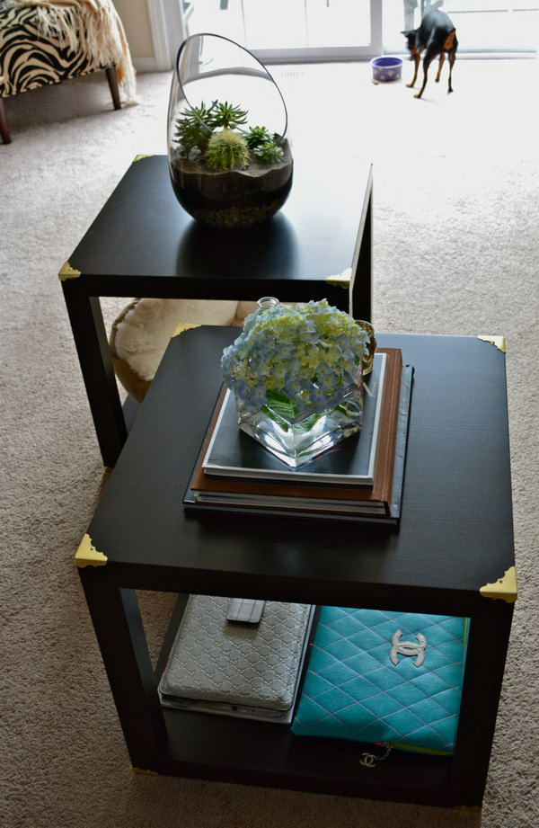6 DIY Trunk Cube Tables made from four LACK side tables