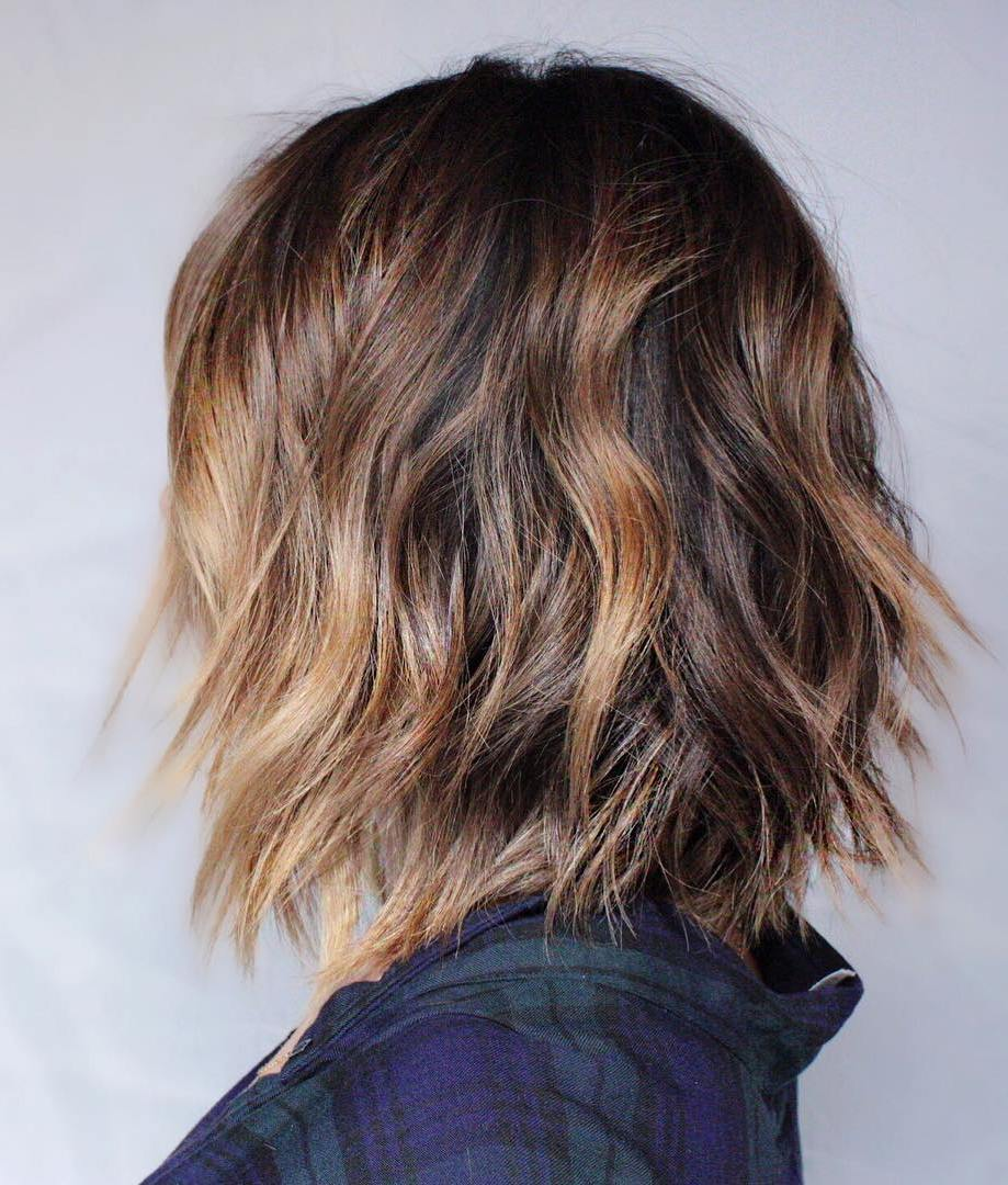 6 wavy brown balayage bob