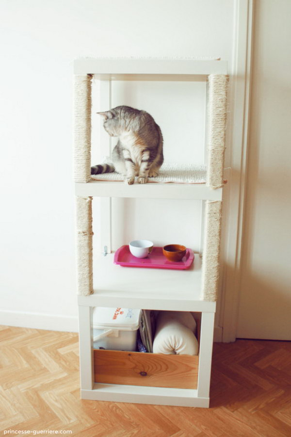 7 DIY Cat Tree Made from Three Lack Tables